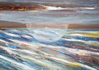 Werner Kramer - Werkverzeichnis-Nr. 847, Landblick XC - Öl auf Aludibond - 120 x 62 cm